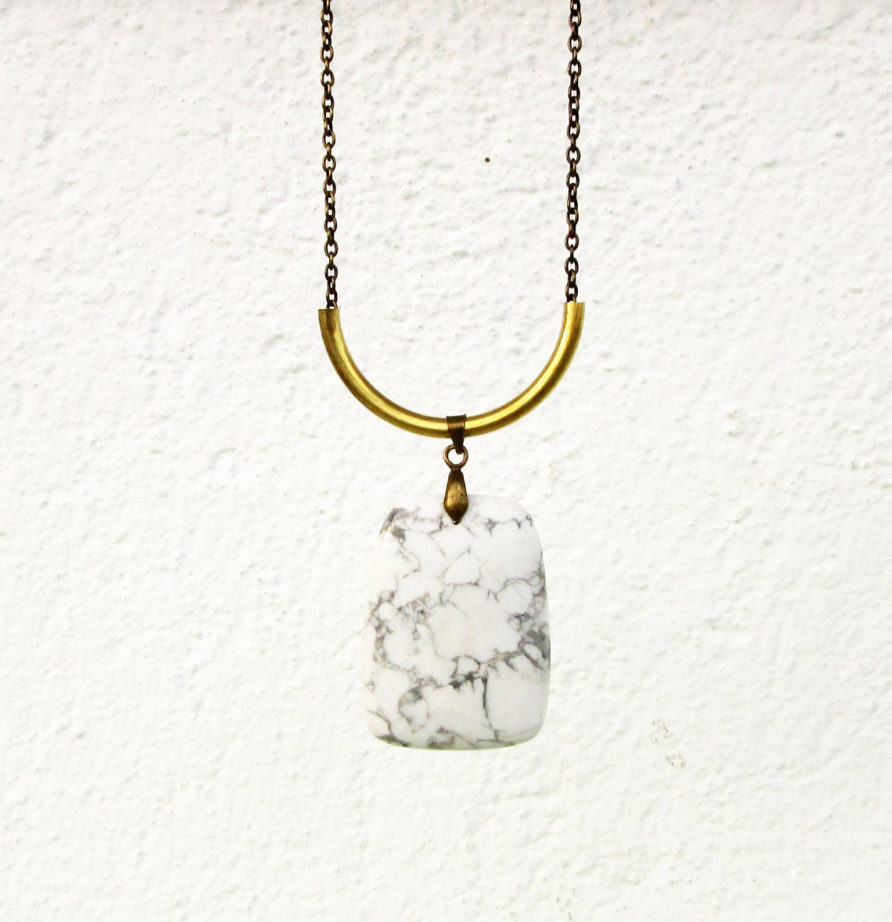 white howlite necklace howlite pendant necklace brass