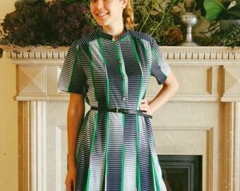Mod Chiffon Dress / 1970's Vintage Navy & Green Check Dress / Short Sleeve Knee Length Pleated Geometric Day Dress