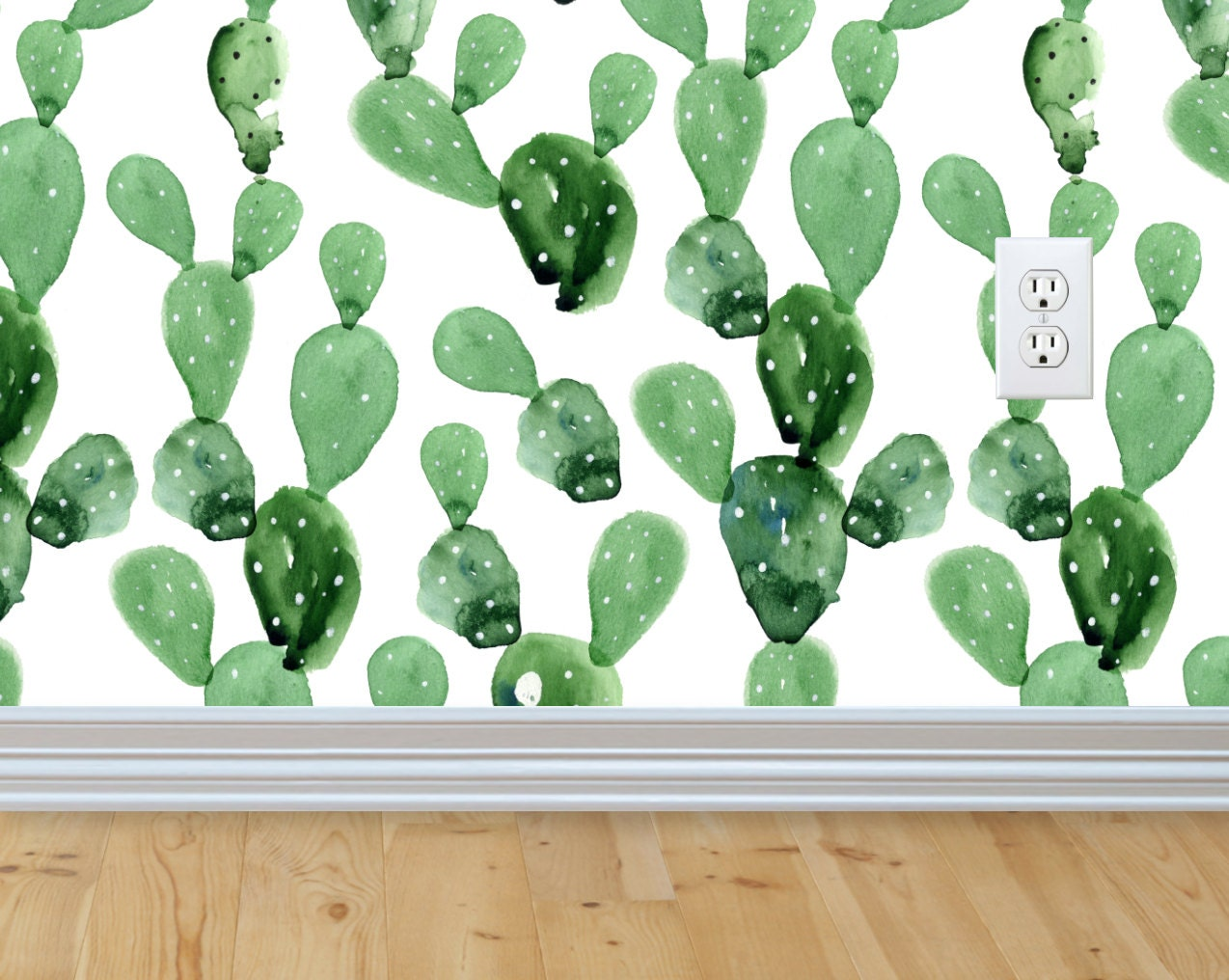 Self adhesive removable wallpaper cactus wallpaper peel and zoom amipublicfo Image collections