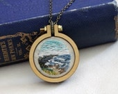 Beach Ocean Landscape Mini Embroidery Hoop Necklace - Coast Shore