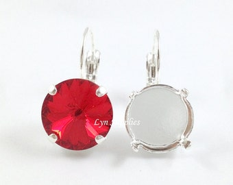 12mm Silver Plated Earring Setting 1 Pair - Nickel Free Leverback Earring Base Fits Swarovski 12mm 1122