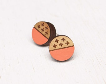 Crossroad - Peach Wood Earring Studs with Sterling Silver posts - laser cut - wooden cross