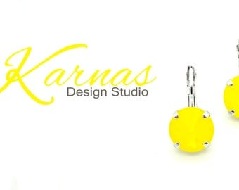 YELLOW OPAL 12mm Crystal Rivoli Drop Earrings Spring/Summer 2017 Swarovski Elements *Pick Your Finish *Karnas Design Studio *Free Shipping