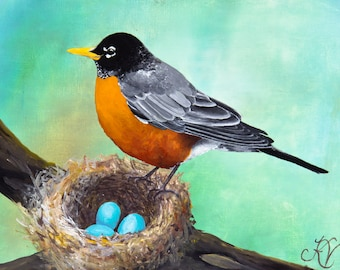 Robin Nest PRINT from Original acrylic painting