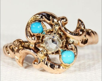 Antique Art Nouveau Turquoise and Rose Cut Diamond Ring in 18k Gold