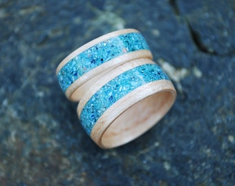 Wood Ring Set - Wood Wedding Bands - Wooden Wedding Band Set - White Oak Wedding Bands - Teal Inlay Rings - Wood Wedding Rings - Custom Made