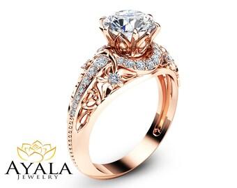 14K Rose Gold Moissanite Ring Forever Brilliant Moissanite Engagement Ring Unique Engagement Ring