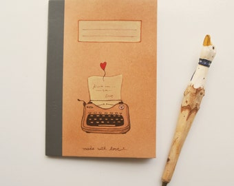 """Exercise book """"Typewriter"""" hand painted, unique piece"""