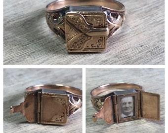 Antique Victorian 14K rose gold locket envelope ring