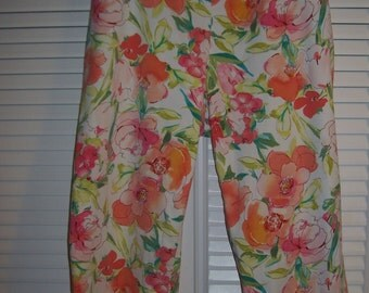 Capris by Ralph Lauren. Poppies in Bloom Size 14 Summer Find For You !