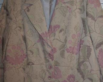 Vintage Emma James Brocade Pink and Beige Blazer Jacket Size 18 W
