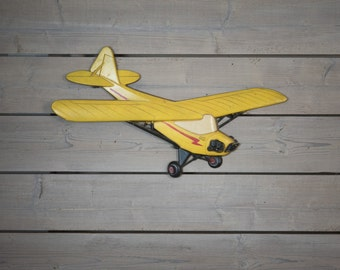 Vintage 60s Metal Yellow Piper Cub Airplane Wall Hanging