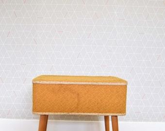 Vintage Retro Fabric Sewing Box Mid Century Design 1960s 1970s