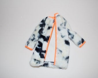 Barbie Plush Pony Fur Coat # 1873 Black White Orange Doll Clothing