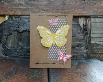 3D Butterfly Thanks, Handmade Card, Hand Stamped, Thank You, Garden, Nature, Natural, Spotty, Gold, Acetate Window, Stampin' Up