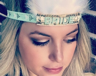 Bridal Gold Mint and Cream Feather Headband, Indie Headdress, Feather Crown