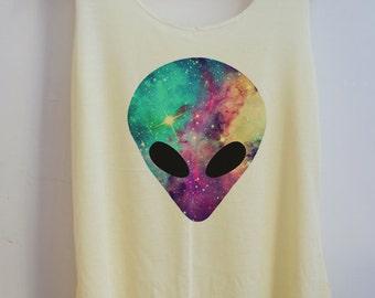 Galaxy alien Vintage Tank top Pop Punk Rock Tank Top Vest Women T shirt lady T-Shirt Size S,M,L-