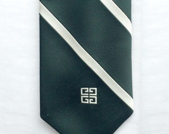 Vintage 1970s Green & Cream Striped Men's Tie by Givenchy