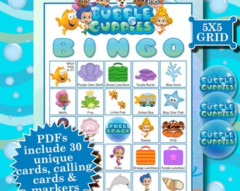BUBBLE GUPPIES 5x5 Bingo printable PDFs contain everything you need to play Bingo.