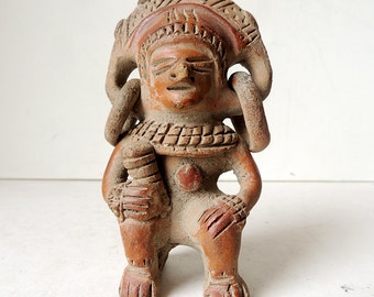 PRE-COLUMBIAN  Pottery Figure of a Warrior