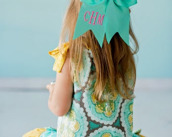 Monogrammed Girl's Mint Green Hair Bow * Personalized Hair Ribbon with Monogram * Custom Embroidered Hair Accessory Gift