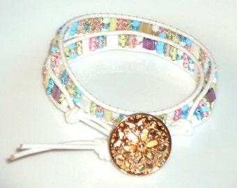 Leather wrap bracelet, 2x wrap bracelet, spring wrap bracelet, hand made jewelry, beaded jewelry, boho, hippie, country chic