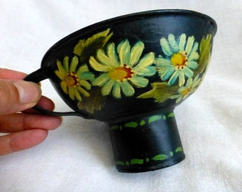 Rustic Country Funnel - Handpainted Flowers Black Metal Funnel - Kitchen Country Folk Art Decor Vintage 80s Footed Cup Display
