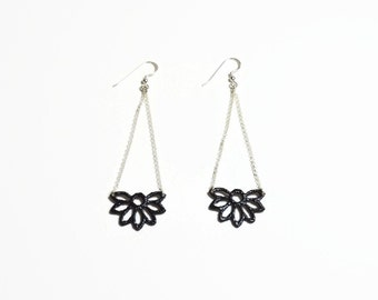 black lace earrings, long earrings, black earrings