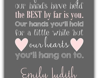 Out of all the things our hands have held PRINT - personalized colors - Girl wall art print.  Girl nursery, playroom art baby shower gift
