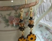 Daisy SUN FLOWER Beaded Dangling Earrings: Pressed Czech Glass Coin Slices, Picasso Yellow, Non Tarnish Gold Wire Gift for Her Mother's Day
