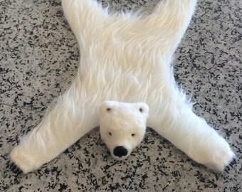 Dollhouse miniature bear rug - Polar Bear - Handmade