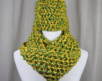 Green and Gold Chunky Crochet Scarf and Hat Set