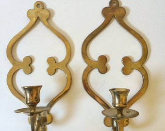 Solid Brass Arabesque Candle Holder Sconces