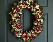 Blended Hydrangea Red White Blue Oval Wreath   Patriotic Wreath   Front Door Wreaths   4th of July Wreath   Summer Wreaths   Fourth of July