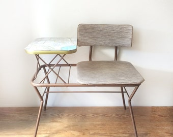 Vintage Gossip Bench - Telephone Table with Texas Map