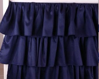 Crib Skirt Ruffle Three Tier, Navy Blue Baby Bedding