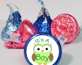 Green or Yellow Boy Owl Candy Labels ~ Its A Boy ~ 108 Hershey Kiss Candy Label Stickers, Baby Shower Favor, Baby Announcement Labels