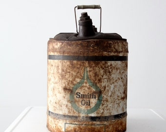 Smith Oil can, vintage 5 gallon oil can