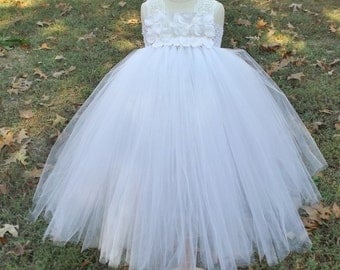 white flower girl tutu dress, white tulle dress,