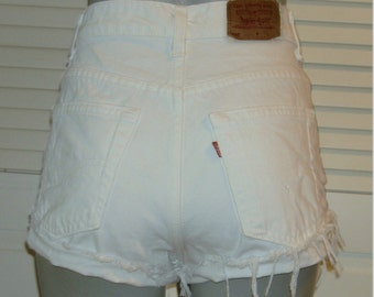 Vintage Levis 555 White Denim High Waisted Cut Off FESTIVAL Jean Shorts~11~