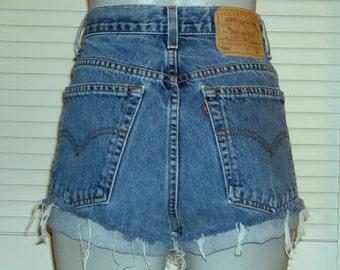Vintage Levis 550 High Waisted Cut Off Blue Jean FESTIVAL Shorts~10~
