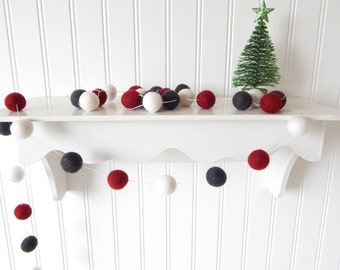 Christmas Garland, Christmas Tree Decor, Christmas Decor, Merry Christmas, Pom Pom Garland, Felt Ball Garland, Bunting, Gray Red Vintage