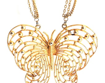Vintage Large Gold Tone Butterfly Necklace