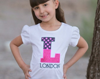 Girl's Personalized Shirt with Polka Dot Glitter Letter and Embroidered Name