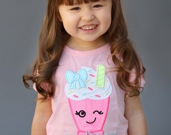 Girl's Cutie Milkshake Shirt with Embroidered Name
