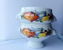 Beautiful Vintage Seltmann Weiden Lion's Head Soup Bowl | set of 2 | white porcelain bowls
