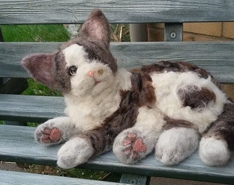 Custom Needle felted Adult Cat, Pet Portrait,Pet Memorial,  Life sized.