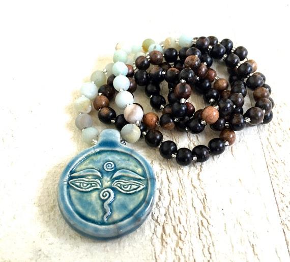 Buddha Mala Necklace, Buddha Eyes Mala Beads, Amazonite Prayer Beads, Yoga Necklace,108 Mala Bead, Bohemian Style Mala, Healing Jewelry
