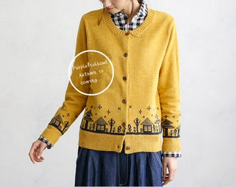 Once upon a time Collection ginger yellow/grey little house sweater
