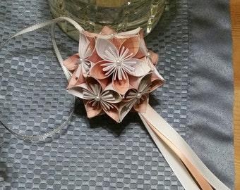 Peach and White Pattern Kusudama - Paper Flower Ball Ornament